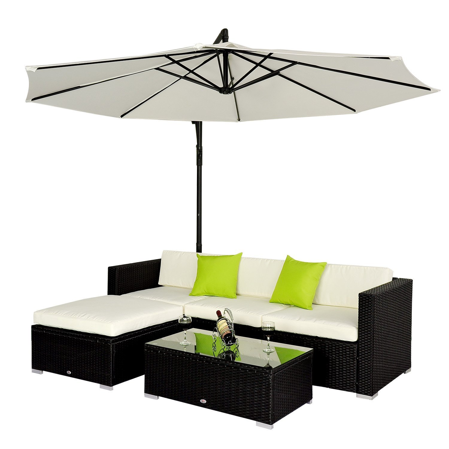 outsunny 5pc rattan wicker conservatory furniture garden corner sofa outdoor patio furniture set black parasol not included amazoncouk garden