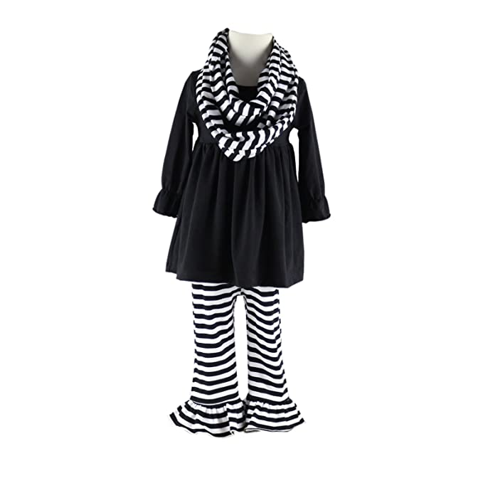Wennikids 3 Pieces Girls Kids Outfits Long Ruffle Sleeves Top + Scarves +  Stripe Ruffle Pants a9ae5184144d