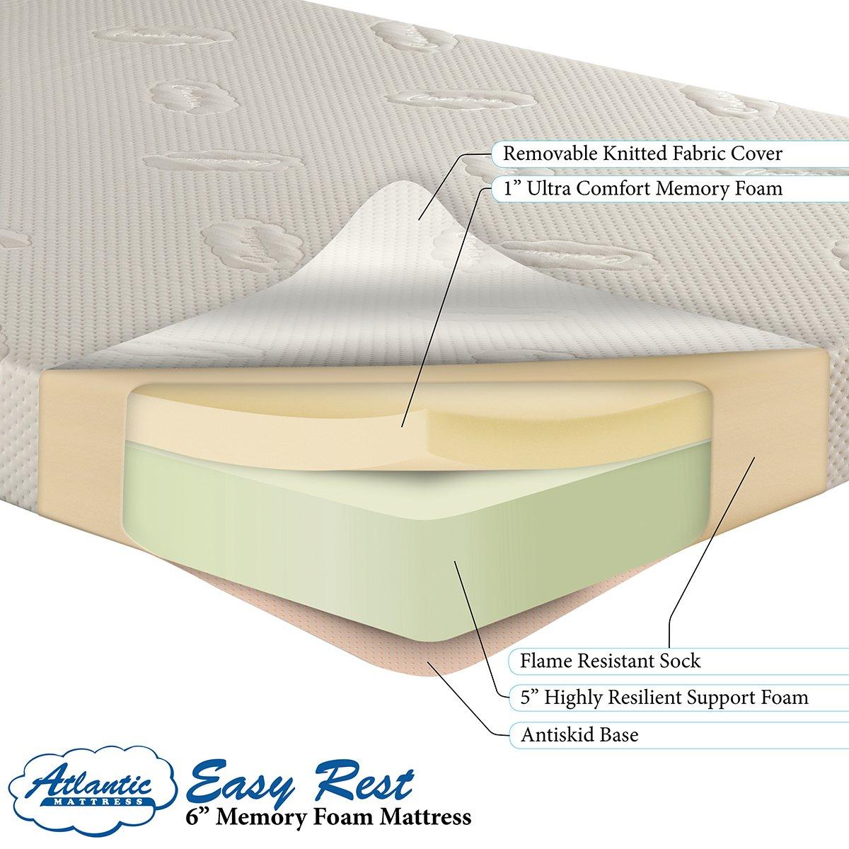 amazoncom easy rest memory foam mattress 6 inch twin kitchen u0026 dining