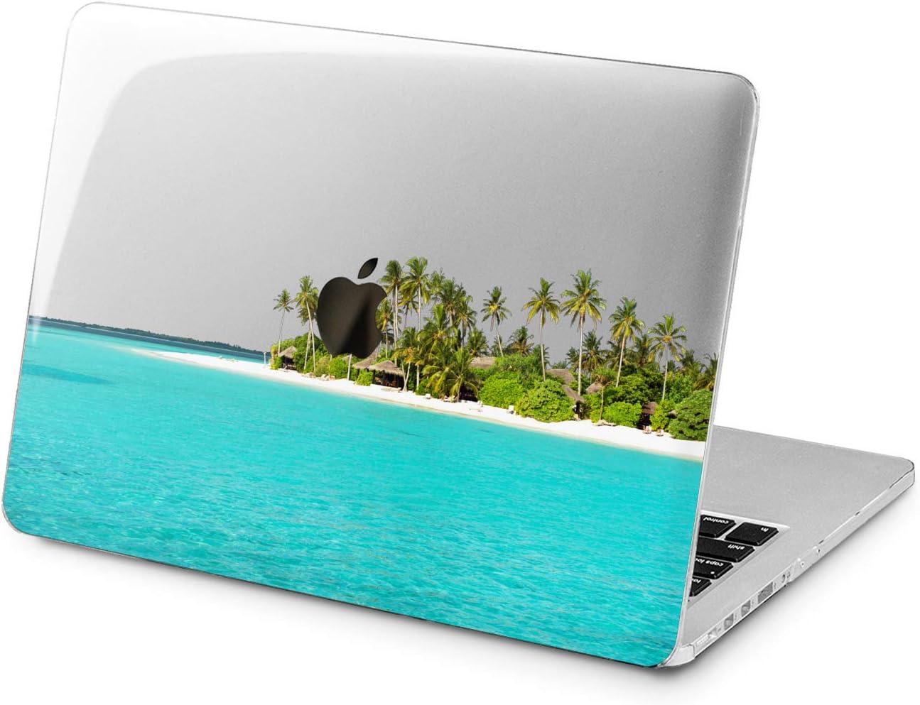 "Cavka Hard Shell Case for Apple MacBook Pro 13"" 2019 15"" 2018 Air 13"" 2020 Retina 2015 Mac 11"" Mac 12"" Tropical Beautiful Green Palms Cover Beach Design Blue Ocean Plastic Laptop Protective Print"