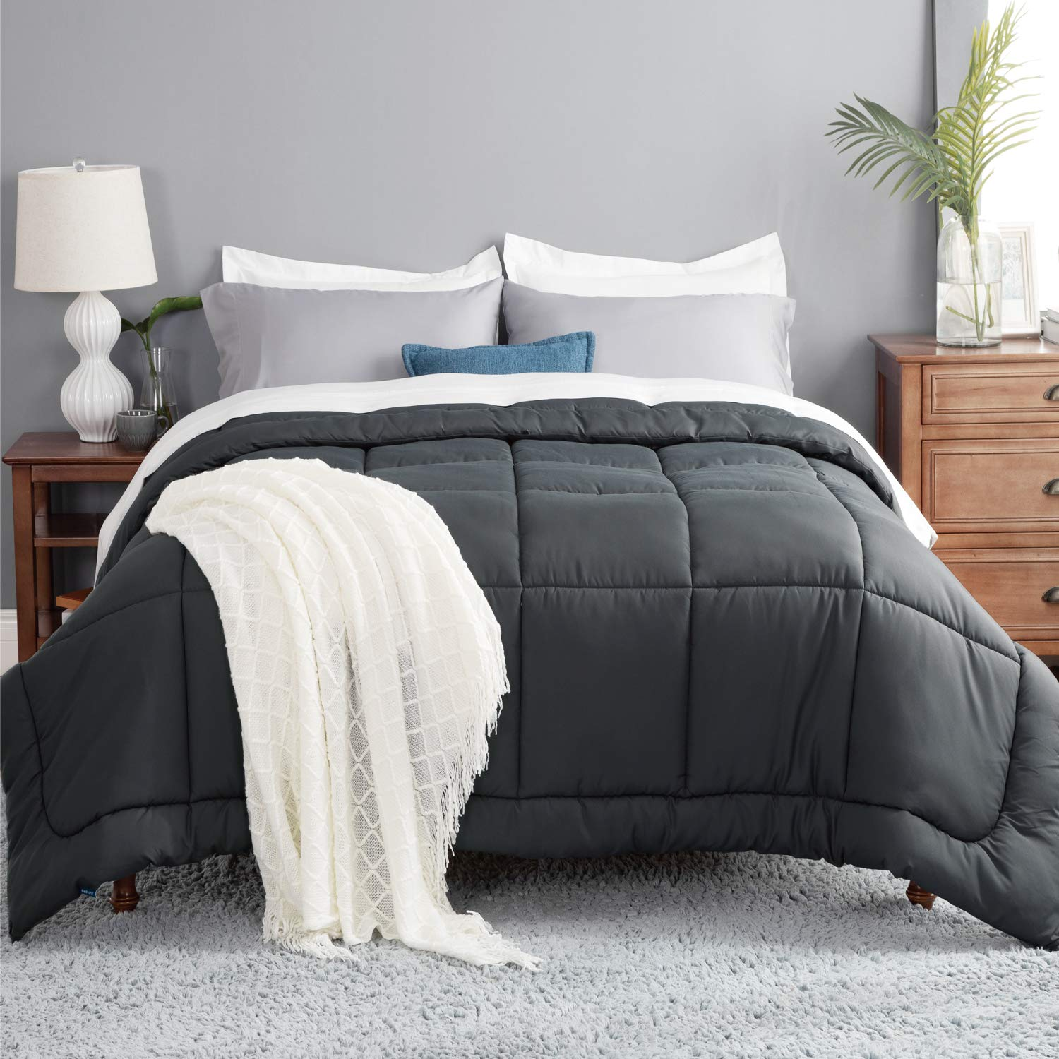 Bedsure Grey Comforter Twin Duvet Insert - Quilted Bedding Comforters for Twin Bed with Corner Tabs