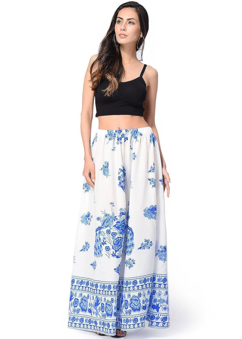 Faldas largas de la falda del Hippie de Bohemia alta ocasional de las mujeres de la falda larga de las mujeres: Amazon.es: Ropa y accesorios