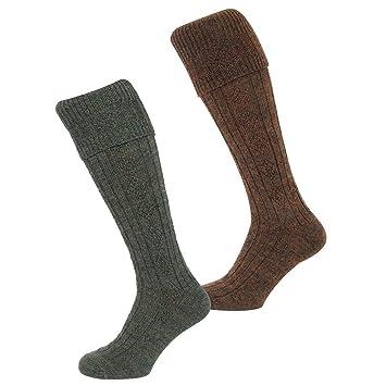 Hoggs Of Fife Country Ribbed Knit Socks Lovat UK 9 11