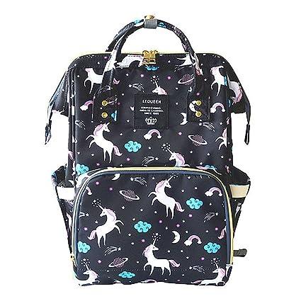 Pawaca - Mini mochila con patrón de unicornio antirrobo, bolsa de pañales para bebé,
