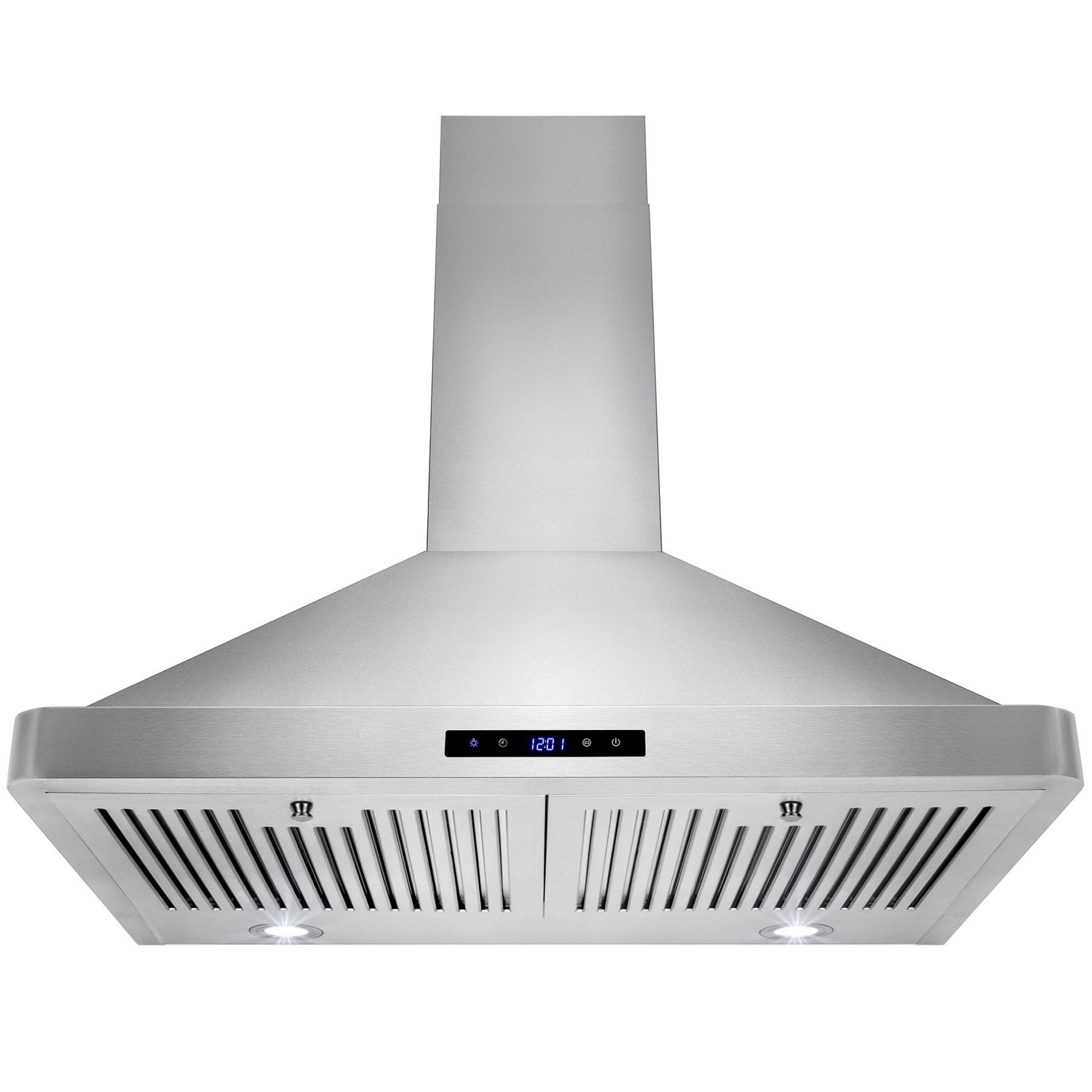Golden Vantage 30'' Wall Mount LED Display Touch Control High Quality Stainless Steel/Tempered Glass Vent Ductless/Ducted Range Hood w/ Multi Layer Aluminum Mesh Grease Filter (30'' Stainless Steel)