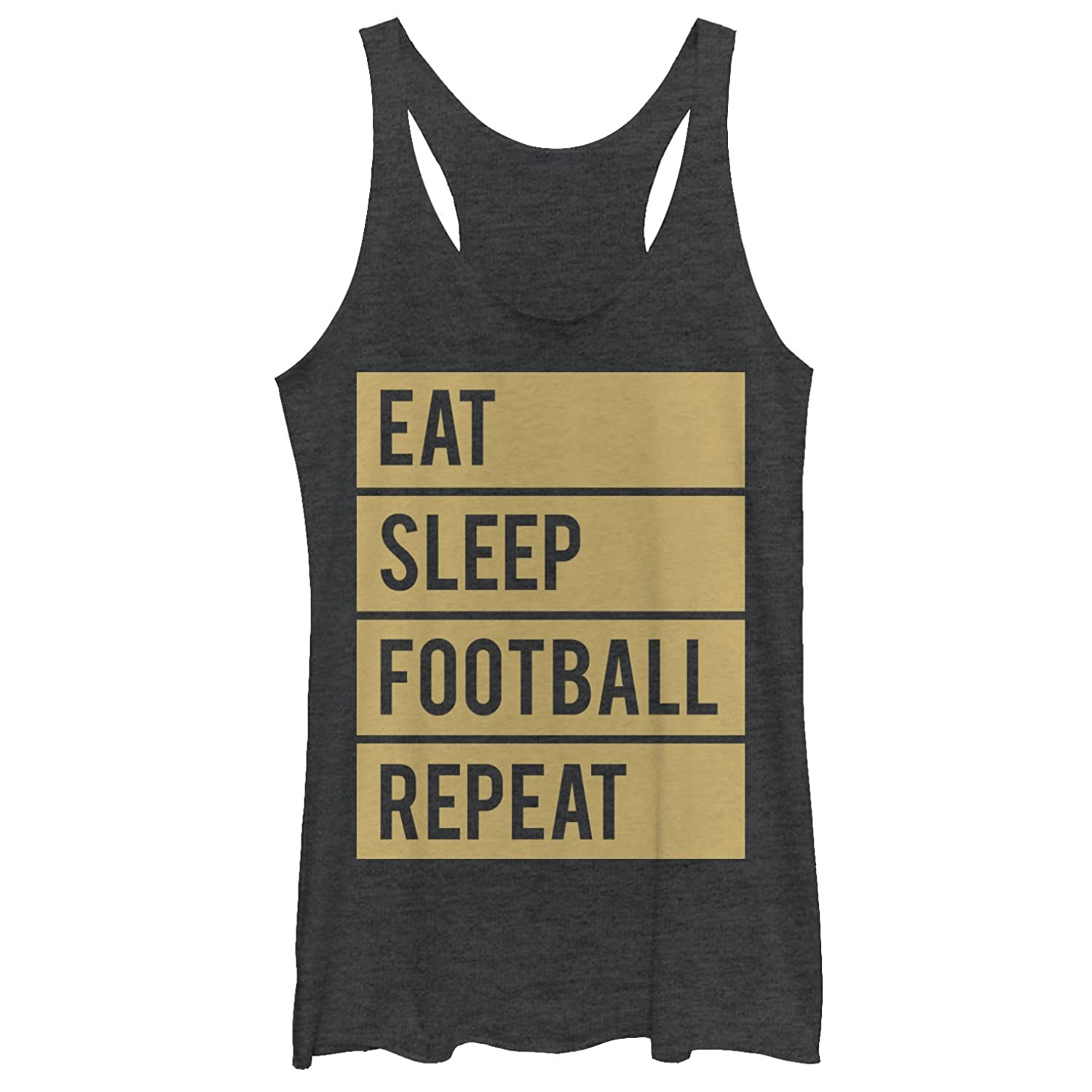 CHIN UP Eat Sleep Football Repeat Womens Graphic Racerback Tank
