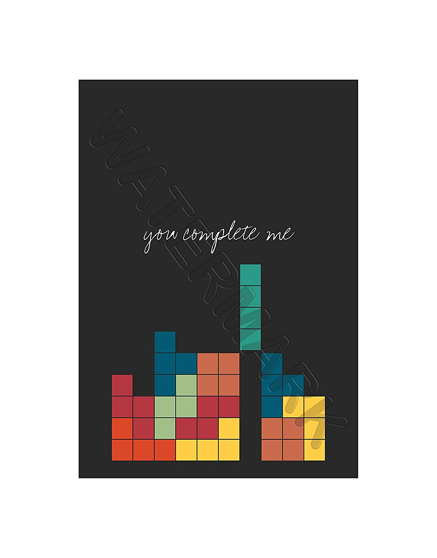 Love Quote You Complete MeビデオゲームNerdテトリス12 x 16インチフレーム印刷f12 X 12121 12.01 x 16.03 inc - 30.5 x 40.7 cm F12X12121_UF B06Y586SP3 フレームなし
