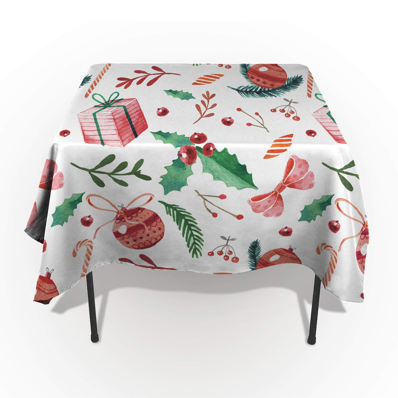 Beauty Decor メリークリスマス テーブルクロス 洗濯可能 布地 長方形 テーブルクロス カバー キッチン ダイニングテーブル 装飾 レッド ホリデーオーナメント クリスマスボール ギフトボックス 水彩スタイル 60x120inch CXC20181026BDTABLECSCRY01743ZBALBDR 60x120inch  B07JQQX9Y3