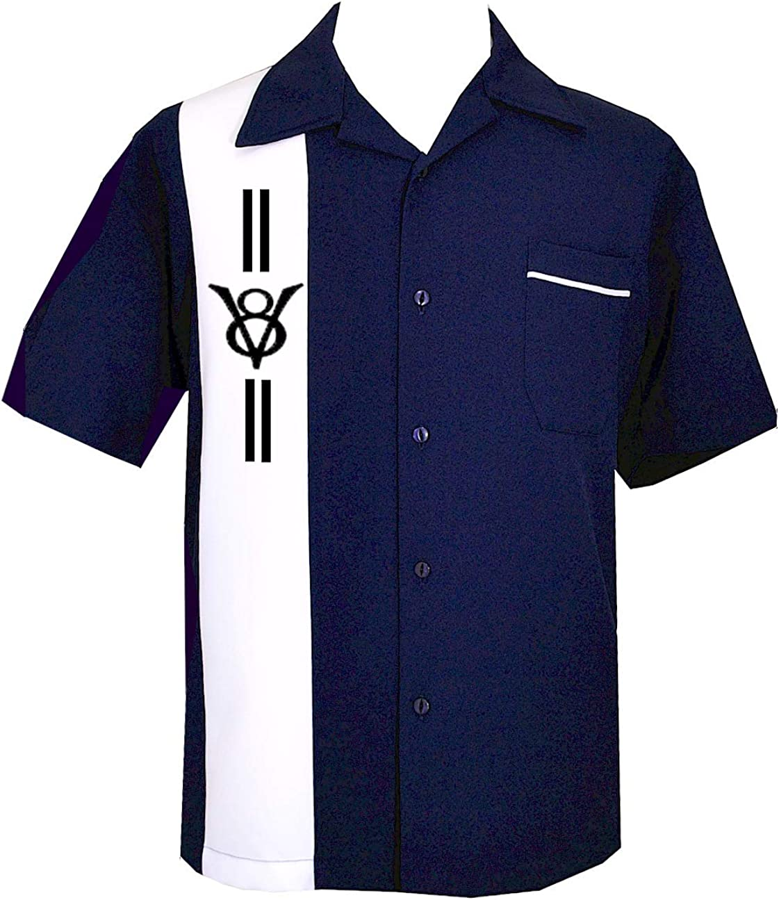 BeRetro Mens Rockabilly Skull Short-Sleeve Bowling USA Made Button Down Shirt Blade
