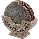 Shalinindia Indian Gift Items Stone Ornament Coasters Holder Set Dining Table Coffee