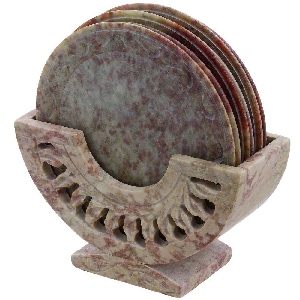 Contemporary Stone Ornament Coasters Holder Set Dining Table Coffee