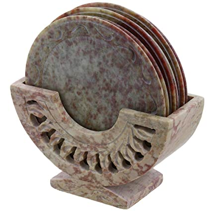 Shalinindia Indian Gift Items Stone Ornament Coasters Holder Set Dining Table Coffee Coffee, Tea & Espresso at amazon