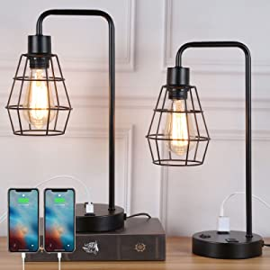 Set of 2 Edison Bedside Table Lamp with Dual USB Charging Ports and 2-Prong AC Outlet, Industrial Nightstand Desk Lamp with Black Metal Wire Cage for Bedroom Living Room Office Farmhouse Collage Dorm