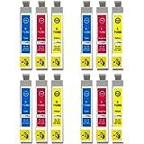 Go Inks E-715CMY Lot de 12 Cartouches d'encre pour Imprimante Tricolor (Jaune, Magenta, Cyan)