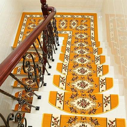 Amazon.es: NuoEn Estera de la Escalera, Escalera de Estilo Europeo Escalera de Antideslizante autoadhesiva Libre de Pegamento Mat Alfombra Madera sólida rotación Mat de pisada de Escalera 10 de la hornada
