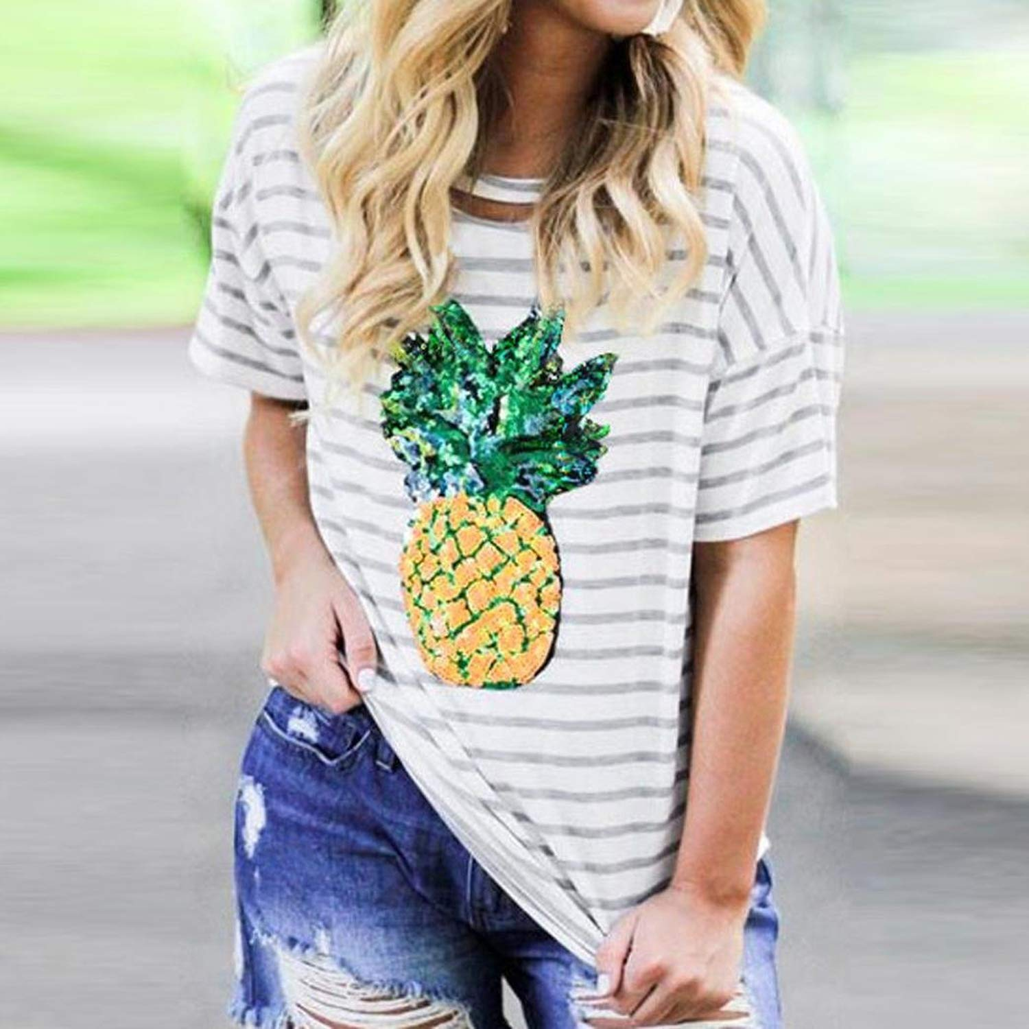 a419dff42 Women Short Sleeve Pineapple Printing Crop Top T-Shirt Tops Tee for Summer,  White-1, Large at Amazon Women's Clothing store: