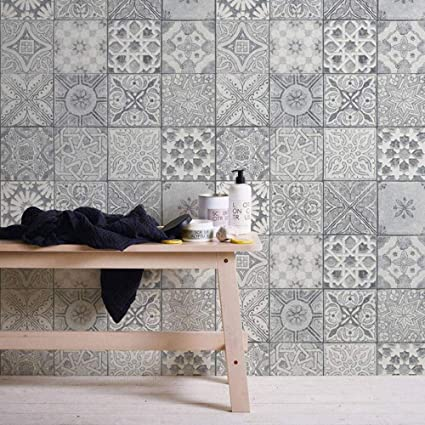 Moroccan Croatian Style Tile Effect Wallpaper Grey White Amazon