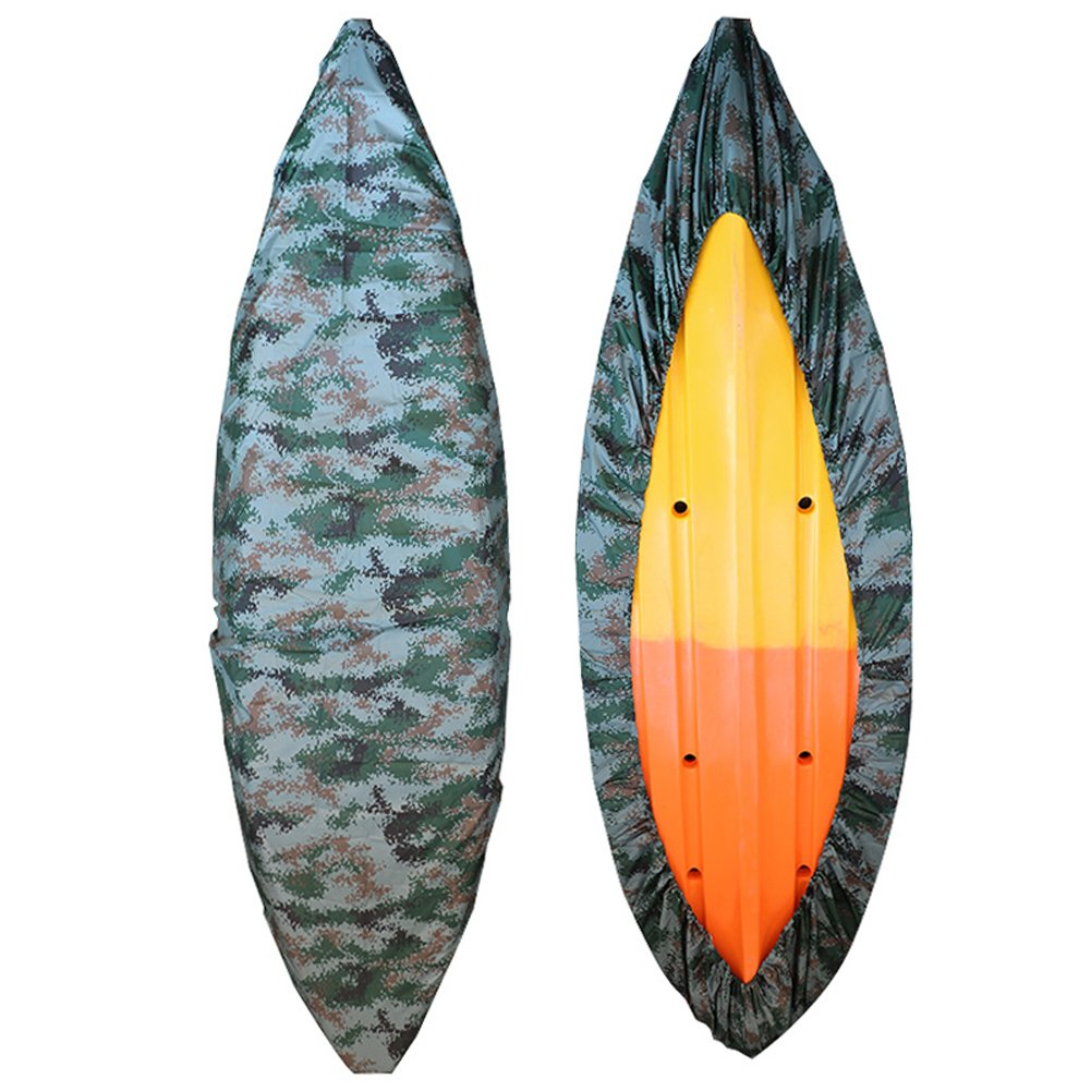GYMTOP 7.8-18ft Waterproof Kayak Canoe Cover Camouflage - Outdoor Storage Dust Cover UV Protection Sunblock Shield for Fishing Boat/Kayak/Canoe [7 Sizes] (Forest Digital, Suitable for 13.8-15ft Boat) by GYMTOP