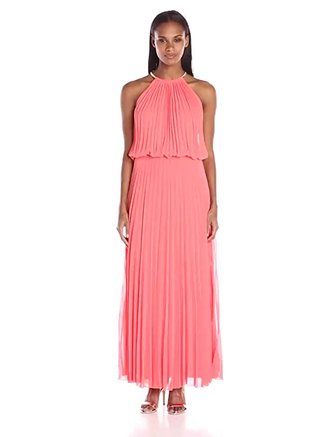 2466ea25b9dd Amazon.com: MSK Women's Halter Neck Pleated Maxi, Sea Orange/Gold 14:  Clothing
