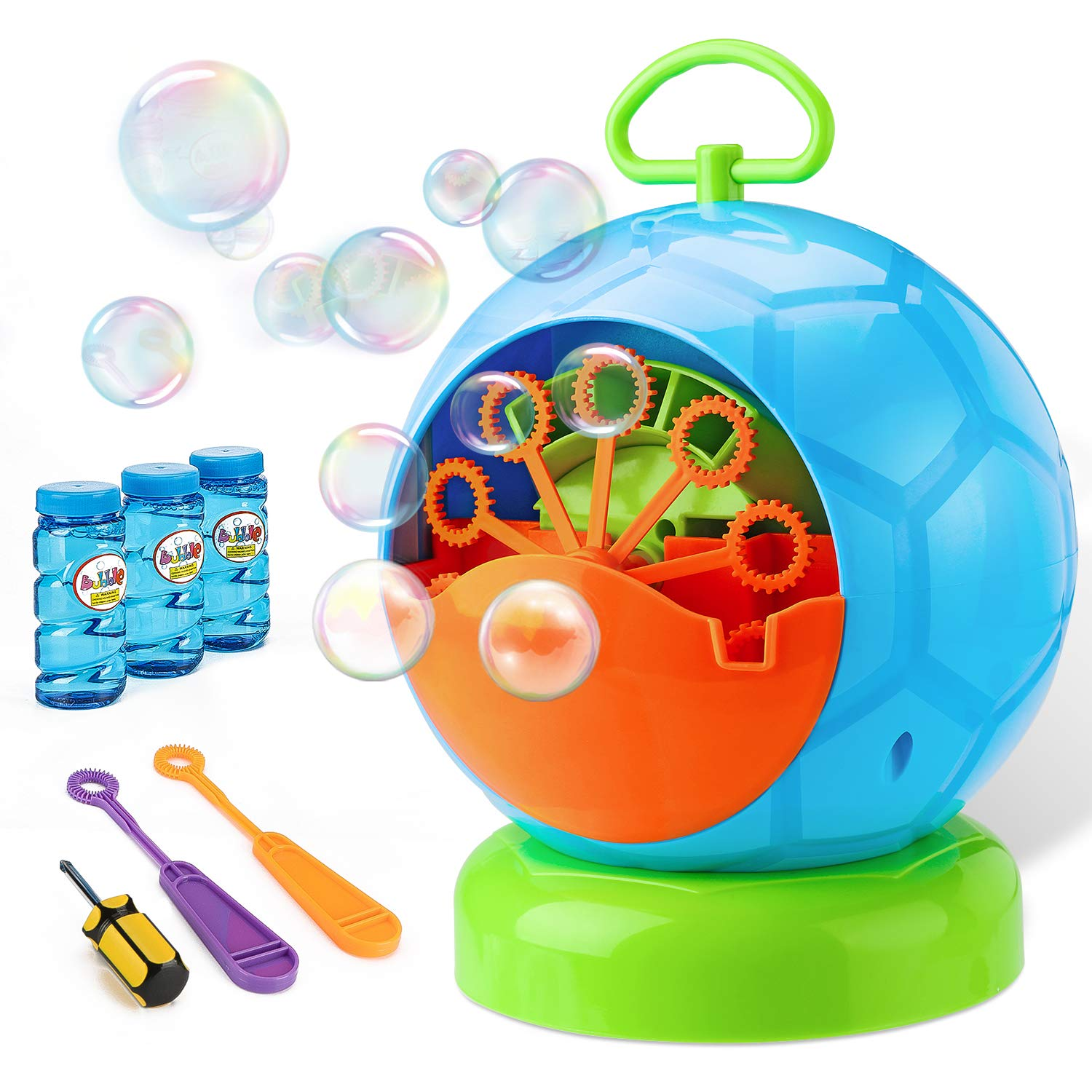 Bubble Machine - Bubble Machine for Kids with 3 Bottles of Bubble Solution and 2 Hand Bubble Wands - Durable and Portable Automatic 800+ Bubble Machine for Christmas, Parties, Wedding (Football Shape) by Fansteck