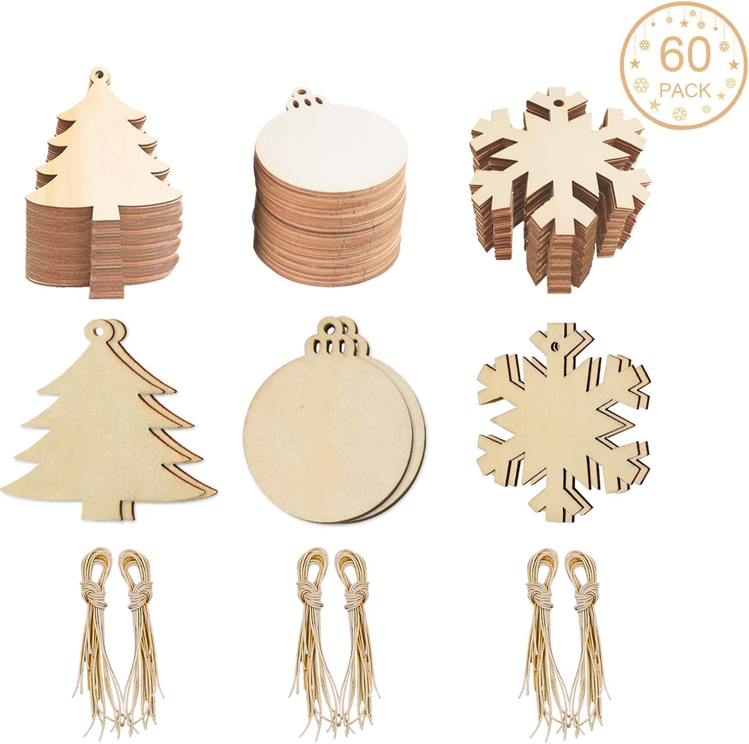 60 Pack Wooden Christmas Hanging Ornaments Unfinished SINGARE Christmas Tree Snowflake Round Shaped Wood Slices w Holes for DIY Crafts Holiday