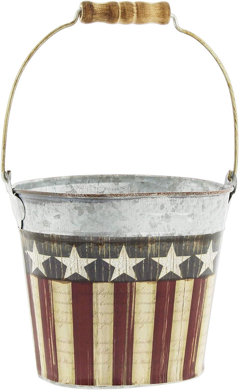 "The Bridge Collection Galvanized Metal Pail with Patriotic American Flag Design, 5"""
