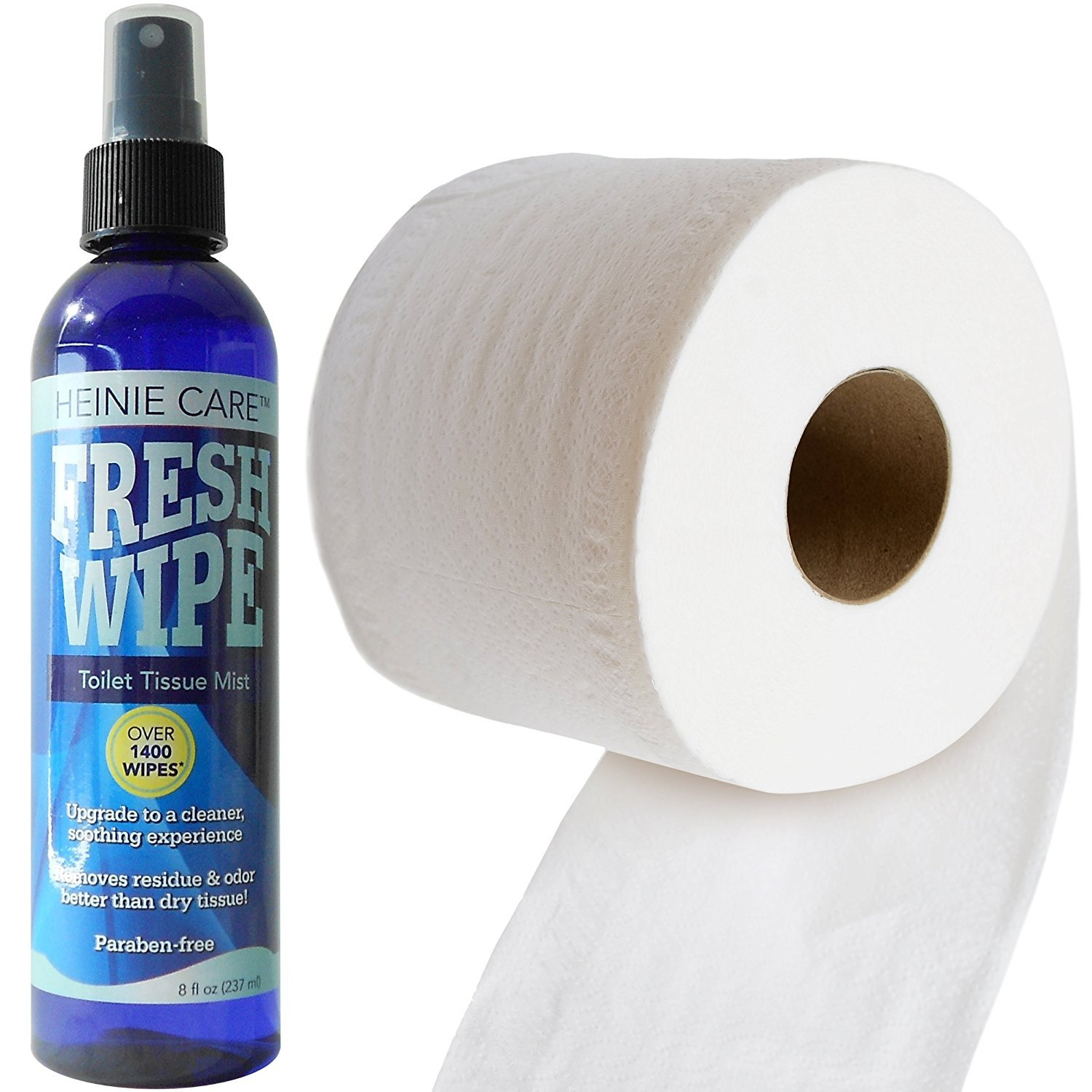 Fresh Wipe Toilet Tissue Spray- Instantly Turn Your Toilet Paper into a Wipe. Don't Clog Toilets. 1400 Sprays per Bottle. (Two - 8oz) by Fresh Wipe