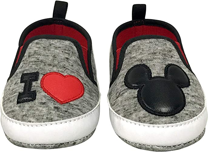 Disney Mickey Mouse and Minnie Mouse Infant Soft Sole Slip On Shoes
