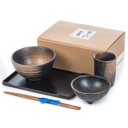 Zen Sabi Black Japanese Bowl Set  sc 1 st  Amazon UK & Zen Sabi Black Japanese Bowl Set: Amazon.co.uk: Kitchen u0026 Home