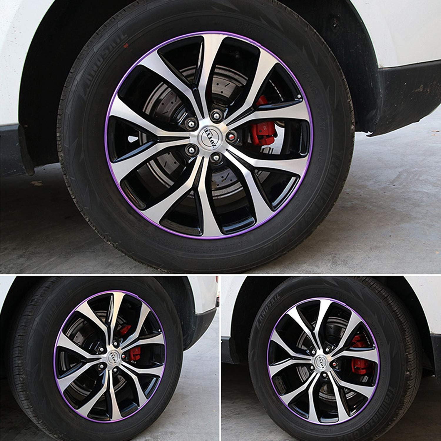 8Meter Universal Car Wheel Hub Rim Protector Purple GOGOLO Auto Tire Rim Edge Guard Decoration Moulding Strip for All Vehicle and Motorcycle Wheels from 16 to 23 1 Pack
