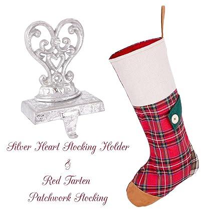 Calcetín de Navidad con diseño de tartán rojo con adorno de lujo, plateado envejecido,