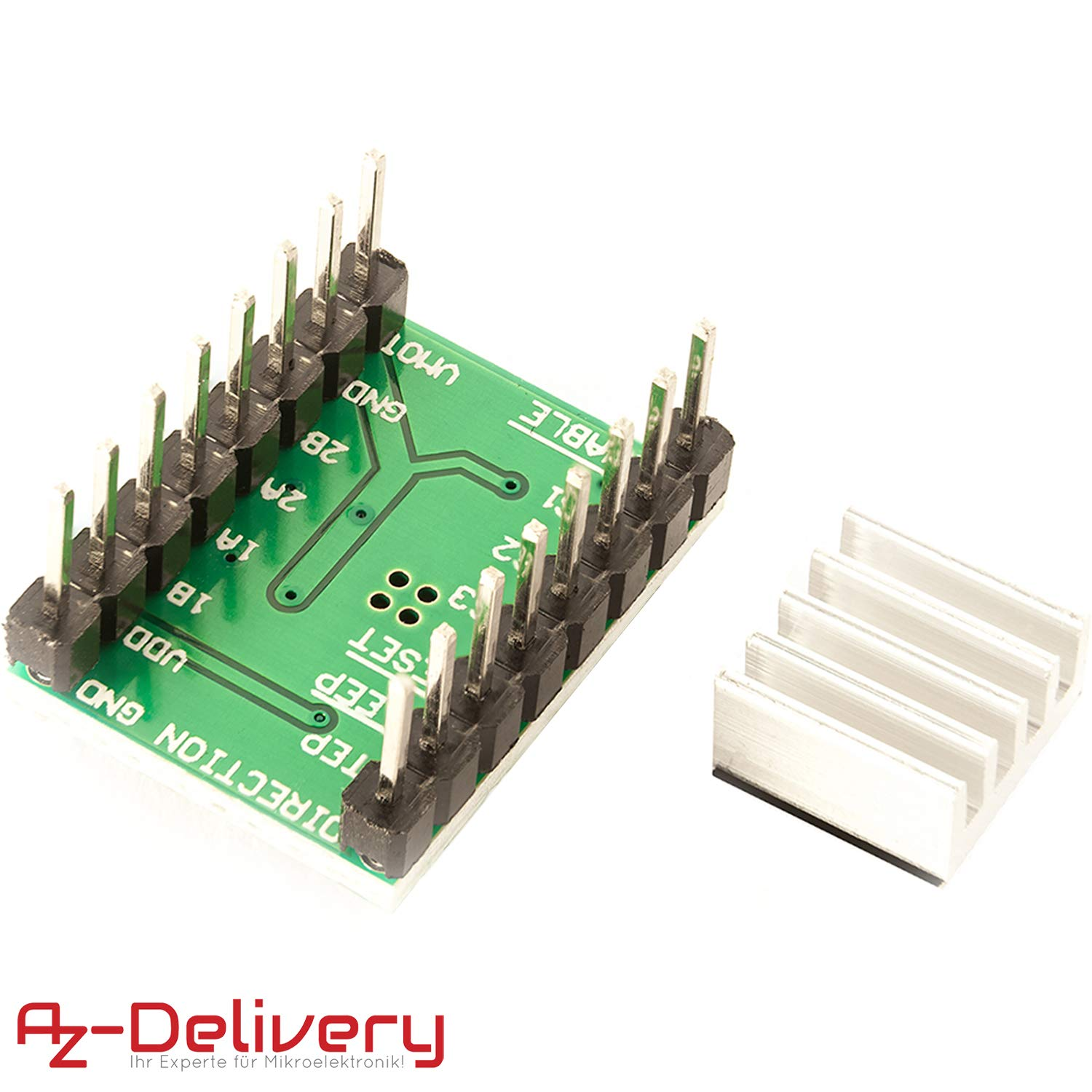 AZDelivery A4988 DMOS Stepper Motor Driver RepRap Ramps with Headers and Heatsink for Arduino including eBook
