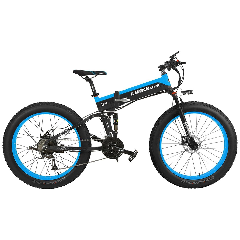電動アシスト自転車スノーバイク、デュアル油圧ディスクブレーキ&サスペンション、大型リチウムイオンバッテリー (黒青, 1000W、14.5Ahプラス1個の予備バッテリー)   B07M5YPB5W