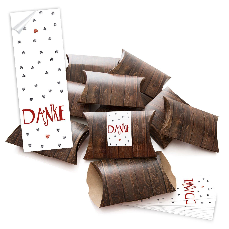 10piccolo marrone scatole regalo scatole regalo effetto legno (14, 5x 10, 5cm ca. 3cm altezza) + 10Fascette (5x 15cm) grazie rosso grigio cuori scatola per regali Give Aways Mitgebsel Jeanette Dietl