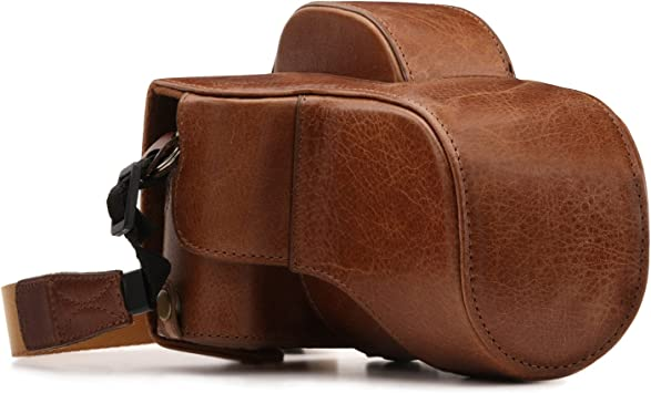 18-55mm // XF 23mm Lens Color : Brown Reliable Full Body Camera PU Leather Case Bag with Strap for FUJIFILM X-E3