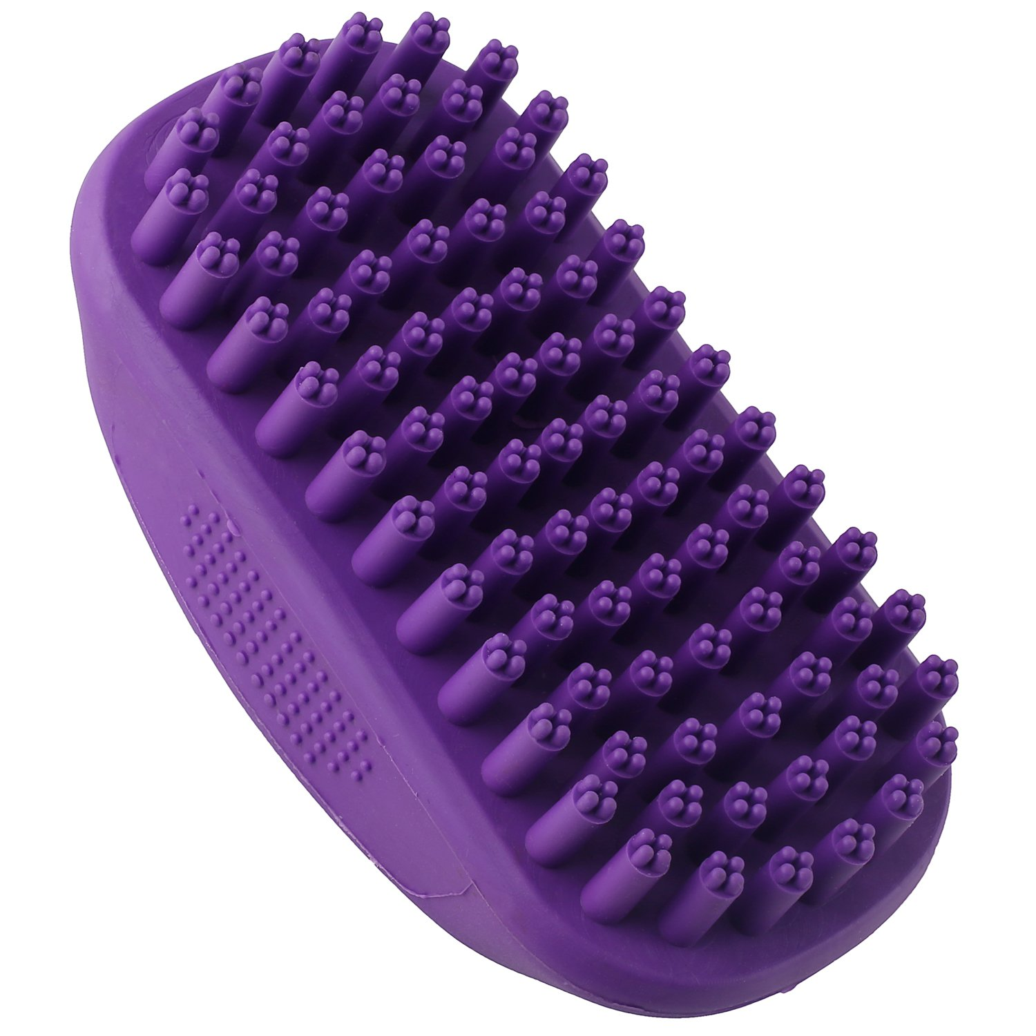 Hertzko Pet Bath & Massage Brush by Great Grooming Tool for Shampooing and Massaging Dogs and Cats with Short or Long Hair - Soft Rubber Bristles Gently Removes Loose & Shed Fur from your Pet's Coat