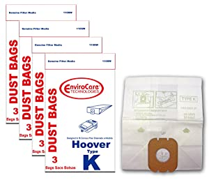 EnviroCare Replacement Vacuum Bags for Hoover Type K Canisters 12 Pack
