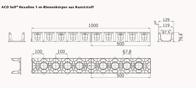 7x1m ACO Entw/ässerungsrinne mit Gitterrost Stahl verzinkt Ablauf horizontal Bodenrinne Ablaufrinne