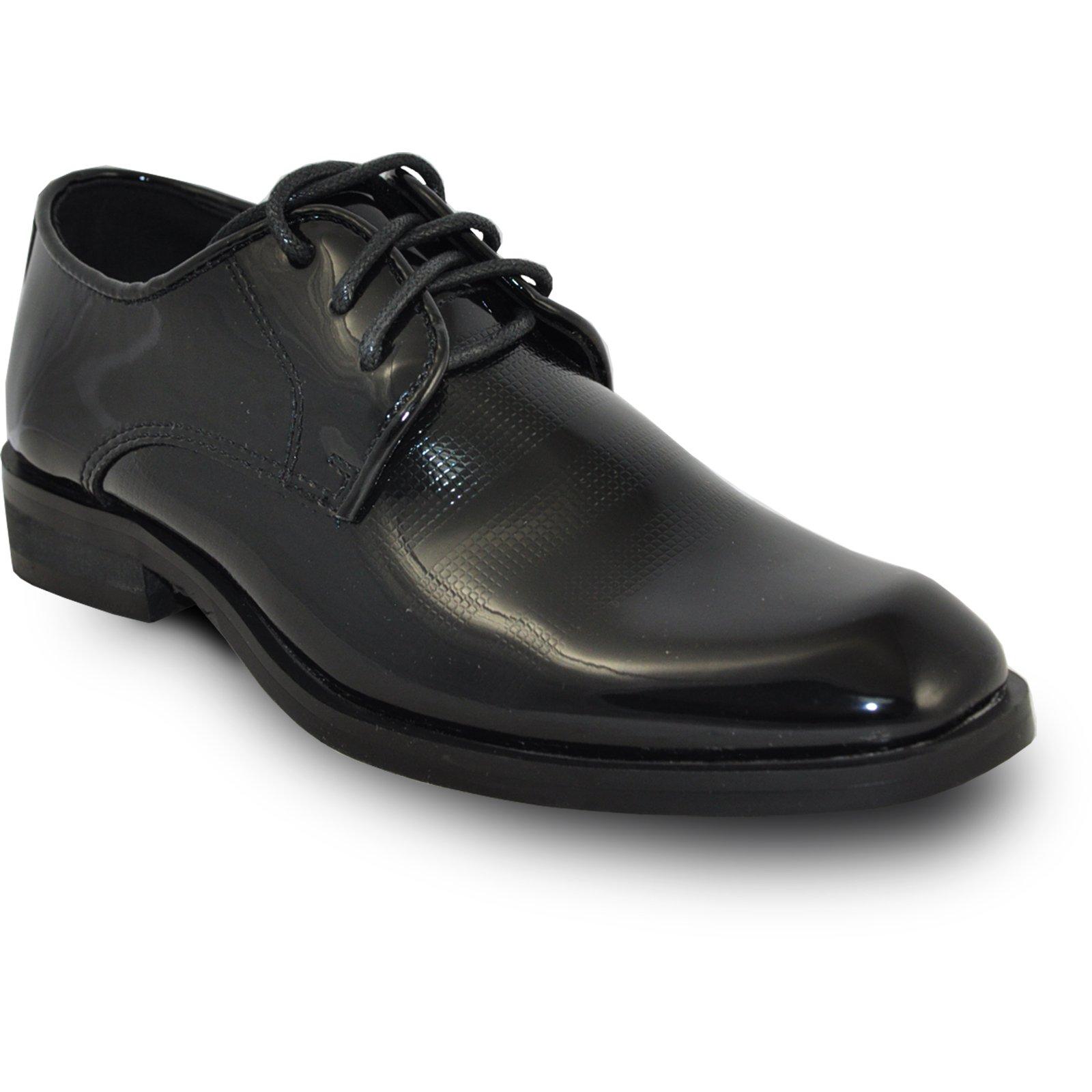 VANGELO Boy ROCKEFELLERKID Dress Shoe Formal Tuxedo for Prom & Wedding Black Patent_3Y