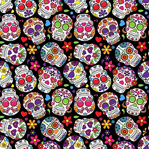 Leowefowa 8X8FT Day The Dead Sugar Skull Backdrop Cartoon Flowers Grunge Scary Abstract Wallpaper Vinyl Photography Background Kids Adults Photo Studio Props ()
