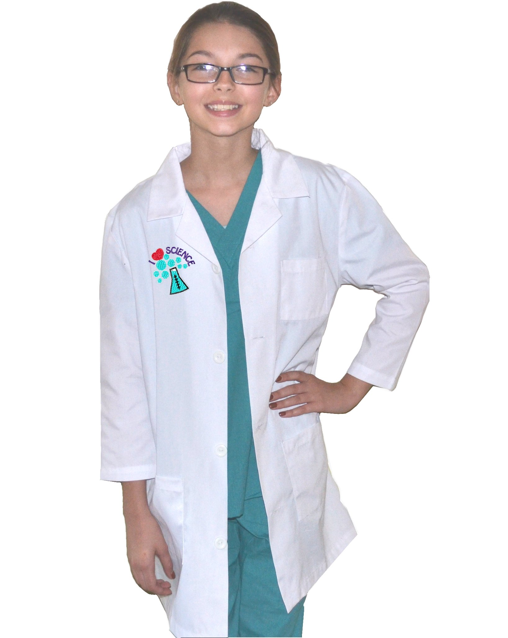 Kids Lab Coat with I Love Science Embroidery Design (8/10)