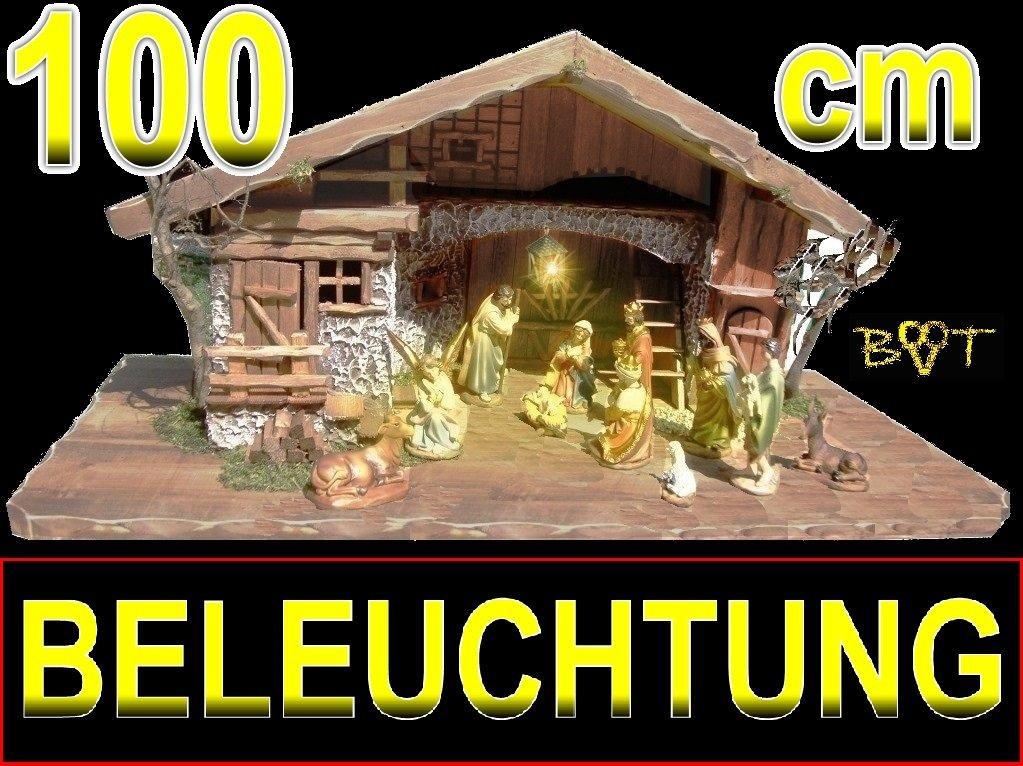 Tolle Weihnachtskrippe + Zubehör - BTV ca. 100 x 50 cm Design: massiv Vollholz Massivholz mit Krippenfiguren + 12 Figuren