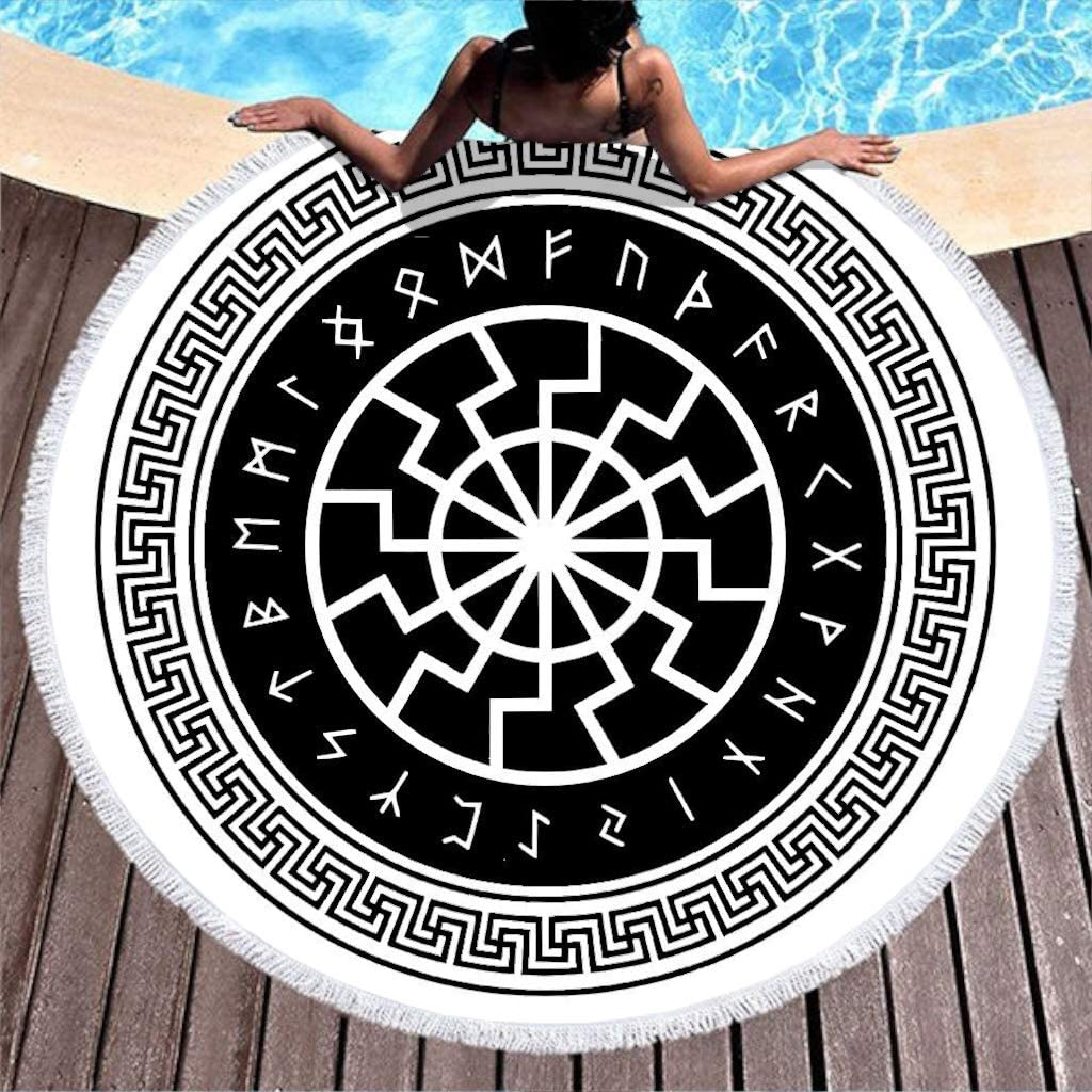 Serviette de bain Franse Beach Roundie 150cm White Jet/é de plage ronde de style scandinave Rabe viking Rune Avec pompon Style ethnique Celtique nordique mythologie