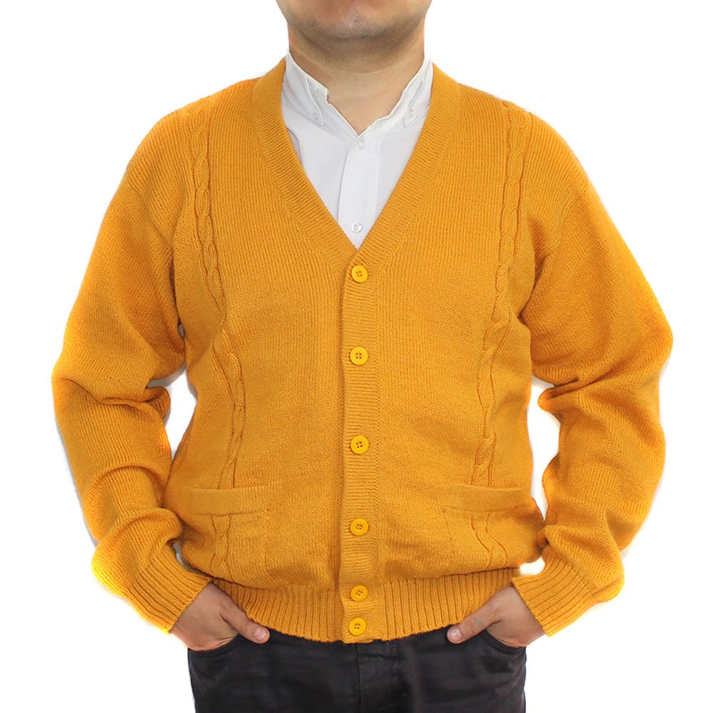 CELITAS DESIGN Alpaca Cardigan Golf Sweater Jersey BRIAD V Neck Buttons and Pockets Made in Peru Yellow M