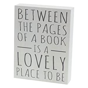"Barnyard Designs Between The Pages of A Book is A Lovely Place to Be Box Wall Art Sign Primitive Country Home Decor Sign with Sayings 8"" x 6"""