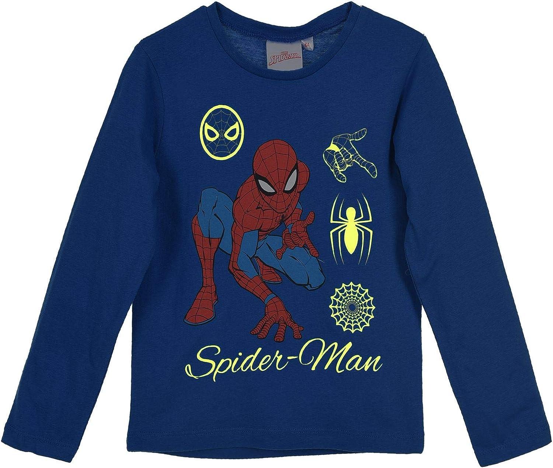 Boys Kids Spiderman Glow in The Dark Long Sleeve T Shirt Blue Age 3-8 Years