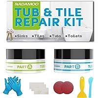 NADAMOO Tub Repair Kit White Tile Shower Repair Kit for Fiberglass Porcelain Ceramic Acrylic Stone Fix Crack Chip Scrap…