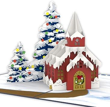 Amazon Com Unipop Cards Christmas Church Pop Up Card 3d Christmas Cards Christmas Pop Up Card Xmas Handmade Greeting Card Holiday Pop Up Cards Christmas 3d Greeting Card Holiday 3d Cards