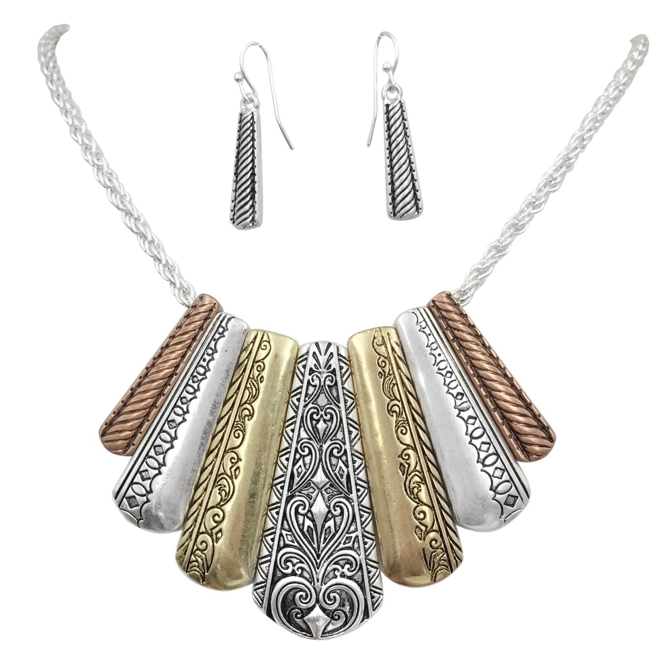 Gypsy Jewels Unique Boutique Style Bib Statement Necklace & Dangle Earring Set (Tri-Tone Pattern Stick Flair)