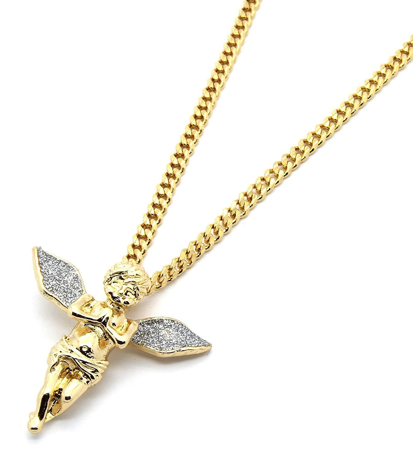 Gold tone silver stardust long wings angel pendant hip hop with 3mm gold tone silver stardust long wings angel pendant hip hop with 3mm 30 cuban chain amazon aloadofball Gallery